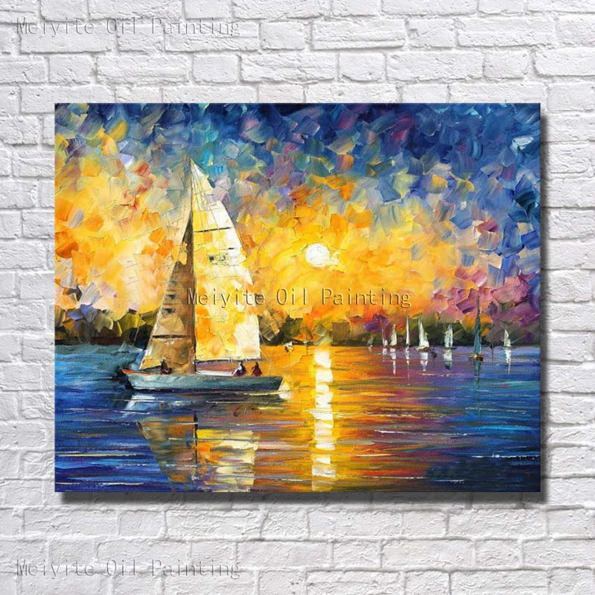 Sunset Above Ocean Good Sceneryy Sailing Boat Wall Pictures Nice ...