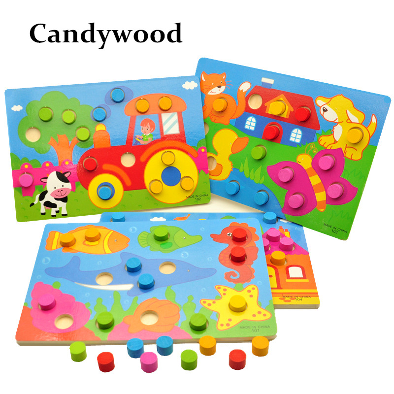 Juguetes de madera Tangram / Jigsaw Board Cartoon Puzzle Jigsaw Kids Early Learning Juguetes educativos para niños