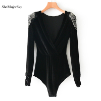 SheMujerSky Women Bodysuits Beading Elegant Jumpsuit Black Velvet Bodysuit Long Sleeve Ladies Bodysuits