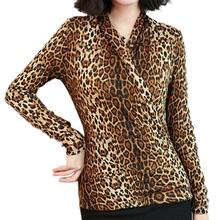 2019 New Yfashion Women Fashion Leopard Printed Crossover V-neck Slim Shirt