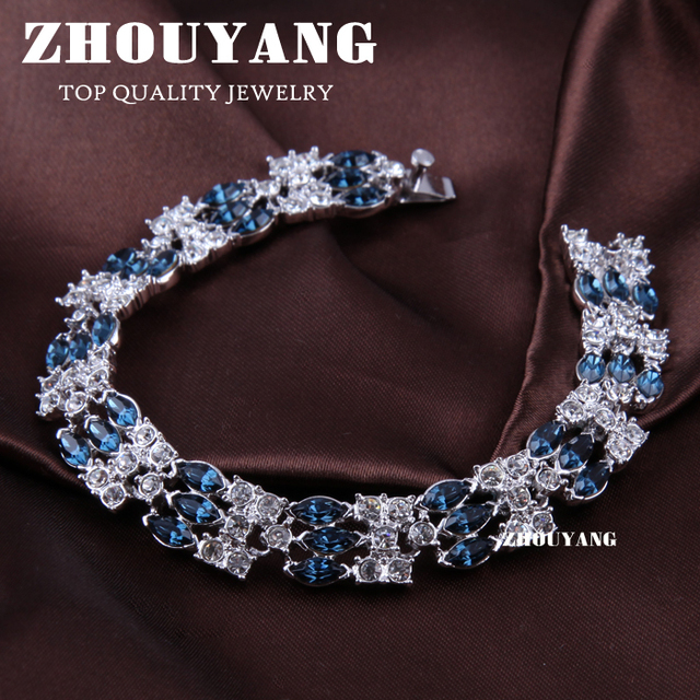 Top Quality ZYH016  White Gold Plated Bracelet Jewelry   Austrian Crystal Wholesale