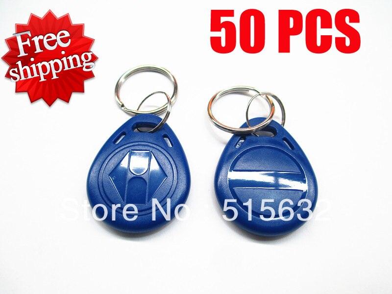 wholesale New 50pcs/lots EM4305 125Khz RFID Writable Rewrite Proximity ID Token Tag Key Keyfobs blank card