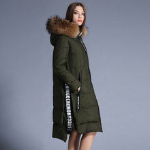 Plus size print Duck down coat long thicken large fur Hooded 2016 winter Jacket Women down Jackets Women's Outerwear Parka coats