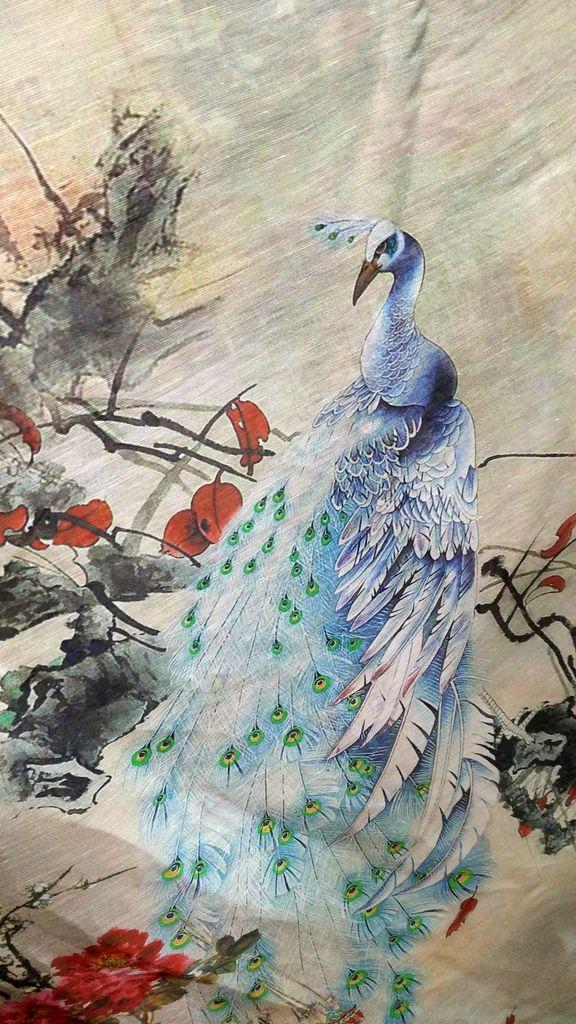Haute qualité japon blanc paon fleurs imprimé tissu marque lin soie tissu mûrier soie lin tissu offre spéciale robe