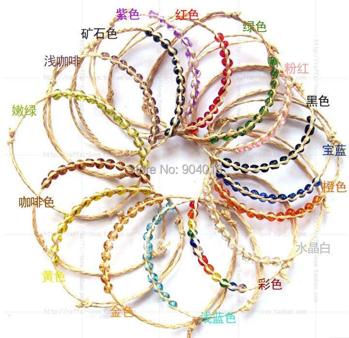200pcs/lot Free Shipping Pure Or Mixed Color Beads Raffia Bracelet, Handmade Raffia Bracelet 12measle Beads Bracelet Fashion