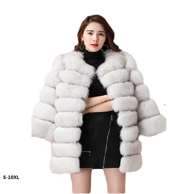 372b979d0 Venda 2018 nova moda feminina inverno longo casaco de pele de vison de  imitação de pele
