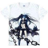Burakku Rokku Shuta Футболка черная волосатая девочка Рубашка футболки Аниме Одежда прохладный мужская футболки Японское Аниме футболки