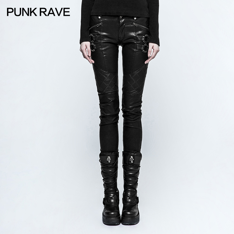 Punk Rave New Women tight sexy steampunk rock Grid Stitching PU Leather Pants K297F