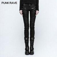Punk Rave New Women tight sexy steampunk rock Grid Stitching PU Leather Pants K297F