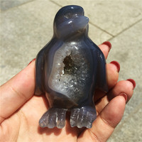 Natural crystal agate hand carved cute penguin reivil stone treatment quartz mineral gems selected Random delivery