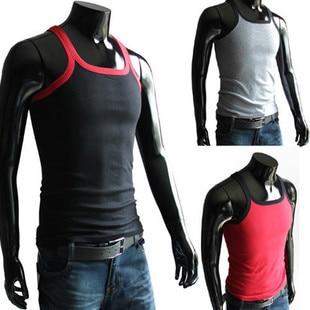 2015 Moda Erkekler Tank Tops T Shirt Kolsuz Pamuk Elastik Yelek Erkek T-Shirt Beyaz, Kırmızı, Siyah, Gri L ~ XXL