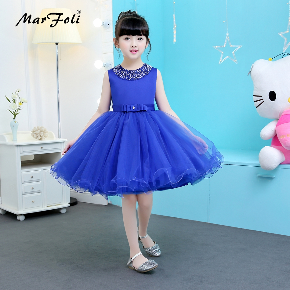 Marfoli Fancy Blue Common Dresses Big Baby Girls' Tulle Flower girl Lace Princess Dress First Communion Birthday Party Dresses 2017 new beading lace v neck flower girl dress baby prom girls dress holy first communion dress kids birthday princess dresses