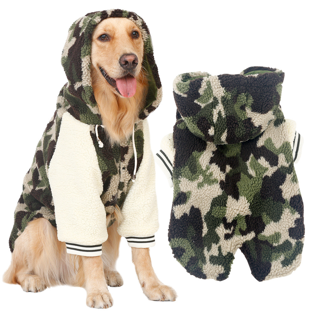 Fleece Thermal Pet Clothes For Pet Camouflage Pajamas Coat Jumpsuit Pet Products