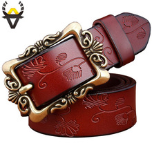 Floral Pattern Genuine leather Belt For Women
