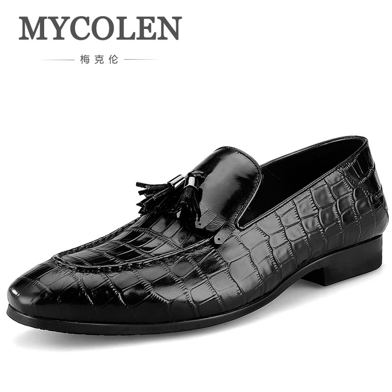 MYCOLEN 2018 Fashion Men's Tassel Crocodile Grain Leather Shoes Mens Casual Loafers Man Flats Moccasins zapatos hombre vestir mycolen mens casual genuine leather flats loafers for men comfortable business wine red black crocodile print man leather shoes