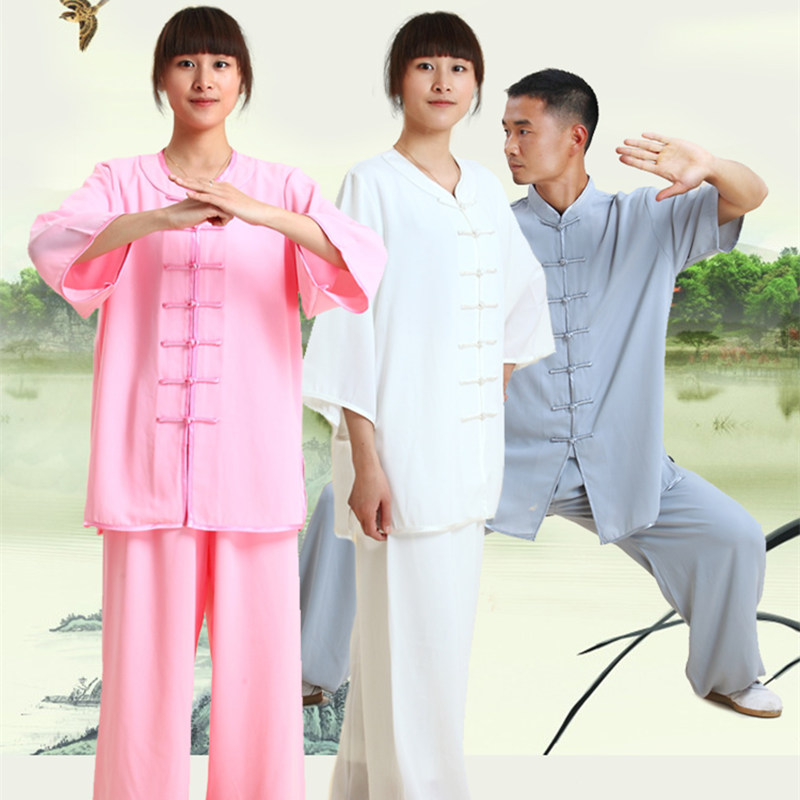 High Quality Martial Arts Clothes Kung Fu Suits Short-sleeve Tai Chi Uniforms Soft Clothing Sets For Women&men