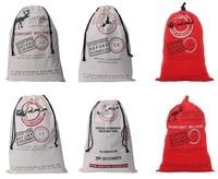 Santa Sack Bag Christmas Stocking Jute Gift Bag Canvas Cotton Elk Santa Claus Drawstring Bags Pouch