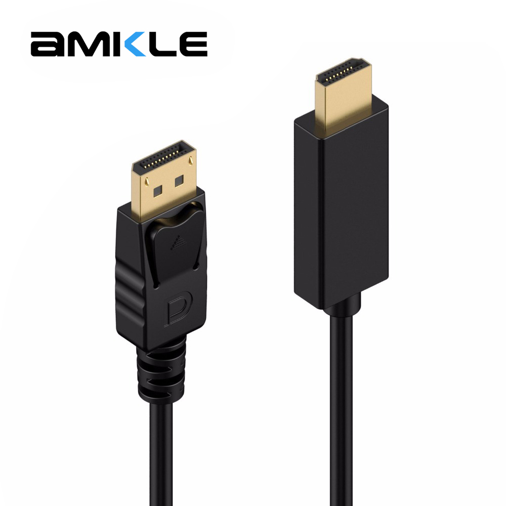 Amkle DP to HDMI Cable Displayport 1080P Video Audio Cable Male to HDMI Male Adapter Cable for PC HDTV Projector Laptop 1.8m 3m