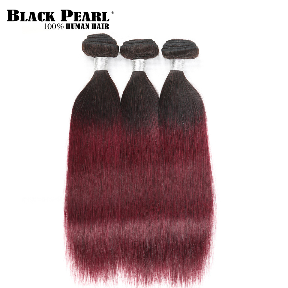 Black Pearl Hair Weave Ombre Wine Red Human Hair Bundles 1 3pc Brazilian Straight hair weft