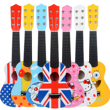 High Quality 6 Strings Early childhood education toys boy girl kids musical instruments cartoons wooden guitar For Children