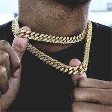 Collar de cadena cubana con borde de Miami de Hip Hop 15mm 30 pulgadas dorado con pedrería pavimentada CZ collares de rapero Bling de la joyería de los hombres