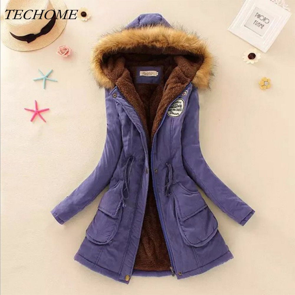 2018 Autumn Winter Women Fur Collar Coats Jackets Slim Fleece Liner Thick Hooded Parkas Mid Long Cotton Outerwear Pleated Parkas