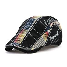 Cotton Patchwork Plaid Newsboy Cap Adult Cabbie Caps Letter Embroidery Peaked Beret Hat For Men