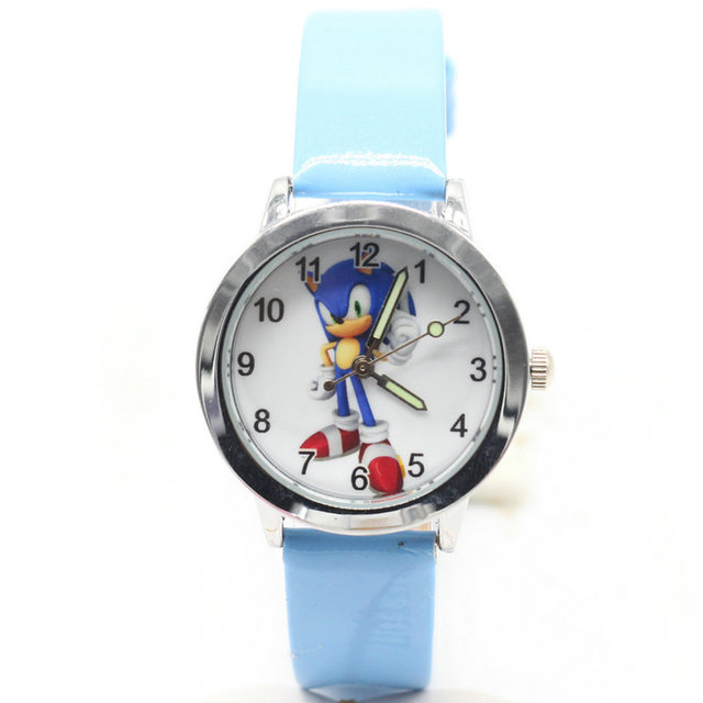 2018 new 1pcs kids leather watches children cartoon sonic watch Clock boys Hours