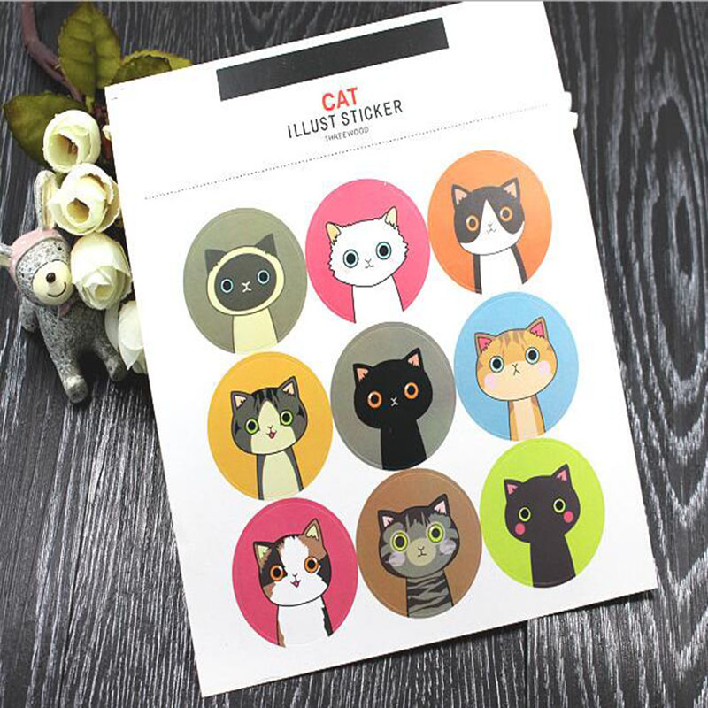 2 Sheets/ pack Kawaii Cat Waterproof Adhesive Stickers Decorative Album Diary Stick Label Paper Hand Account Decor