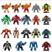 Single sale Decool Large big Minifigures Marvel Super Hero Avengers Thanos Hulk Buster Venom Ironman Building Block Toy Legoed