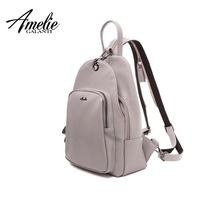 AMELIE GALANTI Women Backpack Solid Soft PU Leather Fashion Female Designed for School Backpacks