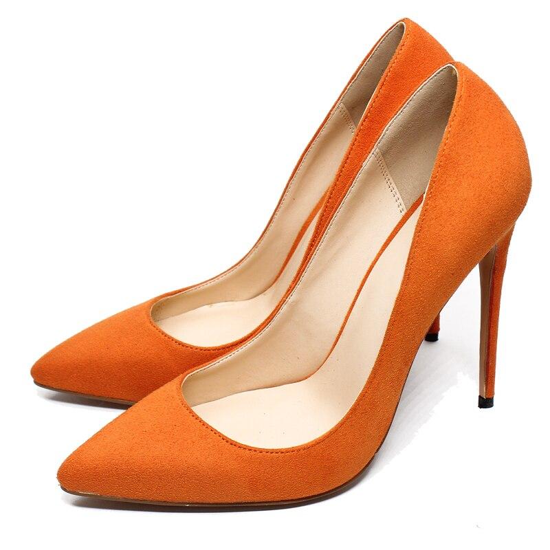 Chaussures 12cm Daim Hauts 10cm Pompes Robe Partie Cuir Okhotcn En Troupeau Dames Minces Sexy Femmes 10cm Pointu Talons Bout Orange 12cm tqRp1wY