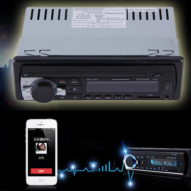 12 V Bluetooth V2.0 FM Receptor de Audio Estéreo Del Coche Solo Din En el tablero Entrada Aux Del Receptor para SD MMC USB MP3 WMA Reproductor de Radio