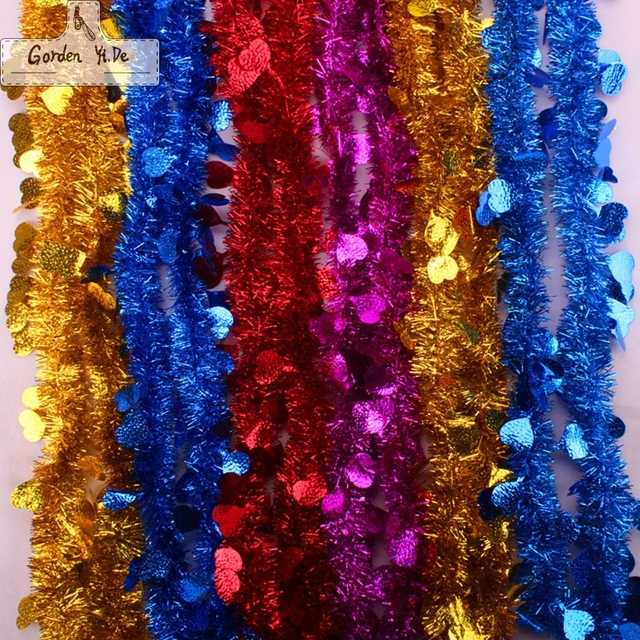 2 m christmas rribbon wool tops garland christmas tree decoration ribbon encryptionxmas metallic purple silver gold