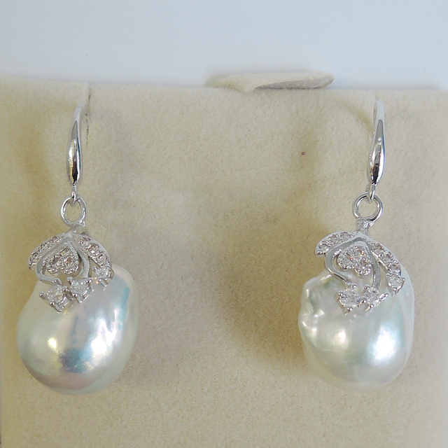 100% nature freshwater pearl earring with 925 silver hook -- AA baroque Pearl,18 mm big baroque pearl earring