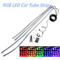 4pcs 12V 36 LED Auto RGB LED Decorative Strip Car Tube Underbody Glow System Neon Light Kit Atmosphere Lamp + Remote Controller