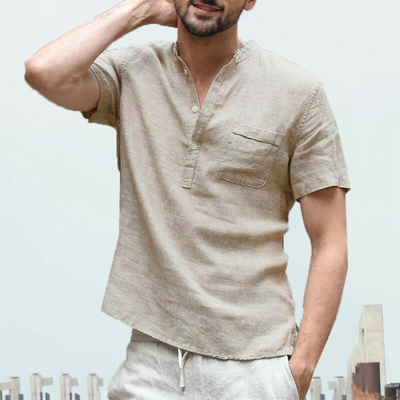 US Men's Linens Short Sleeve Shirt Summer Cool Loose Casual Shirts V-Neck Tops