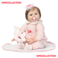 Bebes reborn soft silicone reborn baby girl dolls NPK 22 55CM real ture looking rooted hair fake baby sleeping dolls bonecas