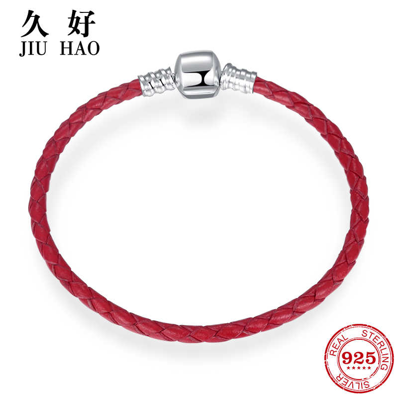 Hot 925 Sterling Silver Charm gules Leather rope Bracelets diy for fashion jewelry womens accessories trendy 2018