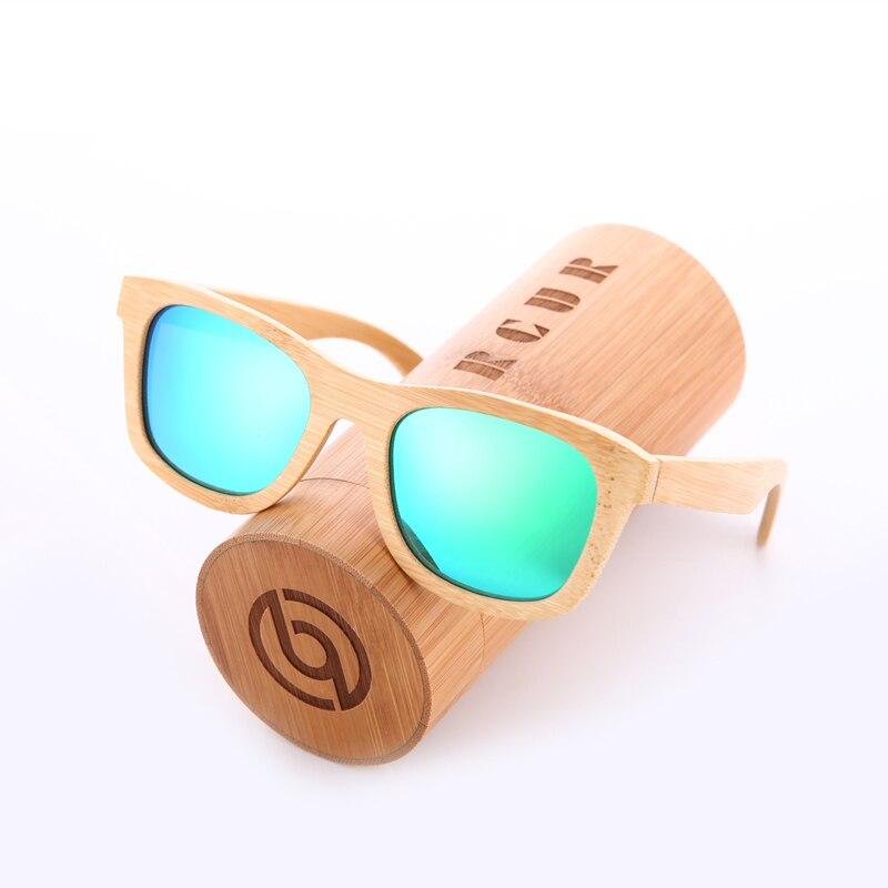 BARCUR Retro hombres gafas de sol mujeres gafas de sol polarizadas bambú hecho a mano madera gafas de sol playa de madera Oculos de sol