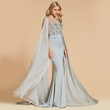 Dressv beading evening dress new gray scoop neck floor length trumpet gown  women back button formal custom long evening dresses 070a284a6e