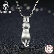 VOROCO Solid 925 Precioso Gato S925 Collar de la Joyería de Moda Collares y Colgantes Animales Traviesos N031