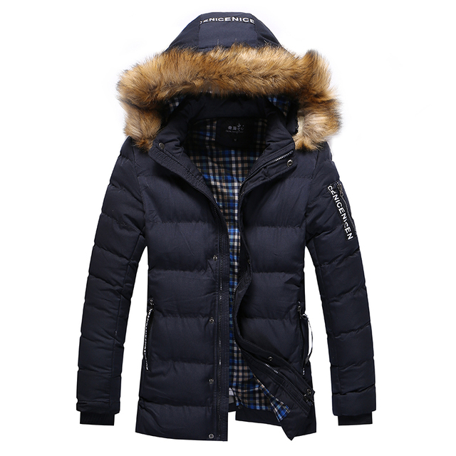 New Long Thicken Winter Jacket Men Hooded Parka Down Coats Solid Color Fur Collar Slim Fitted Cotton Jacket Men M~3XL DJ031