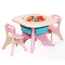 Children Furniture Sets 1 desk+2 chairs sets plastic kids Furniture sets kids chair and study table sets minimalist square table(China)