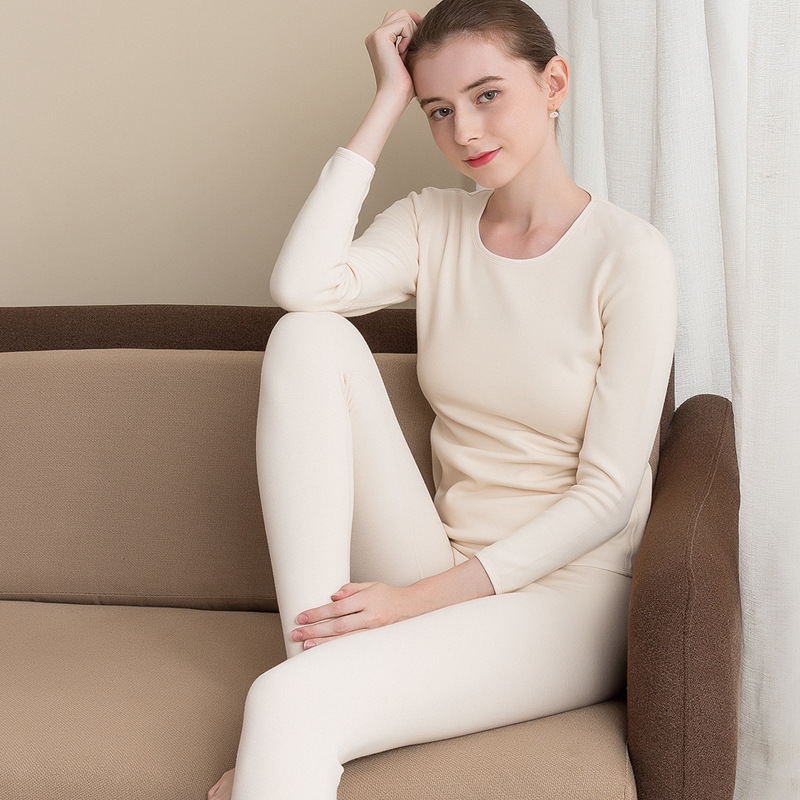 Silk Velvet Thermal Underwear Set Women's Silk, Velvet, Thickened Round Collar, Bottom Clothes, Autumn Clothes And Trousers.