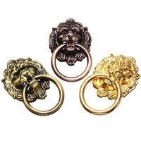 Newest 6Pcs Set Vintage For Lion Head Drawer Furniture Cabinet Dresser Door Pull Handle Knob Ring