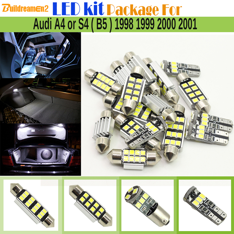 Buildreamen2 Car Canbus Interior LED Bulbs 2835 Chip LED Kit Package White Map Dome Door Light For <font><b>Audi</b></font> <font><b>A4</b></font> or S4 (<font><b>B5</b></font>) 1998-2001 image