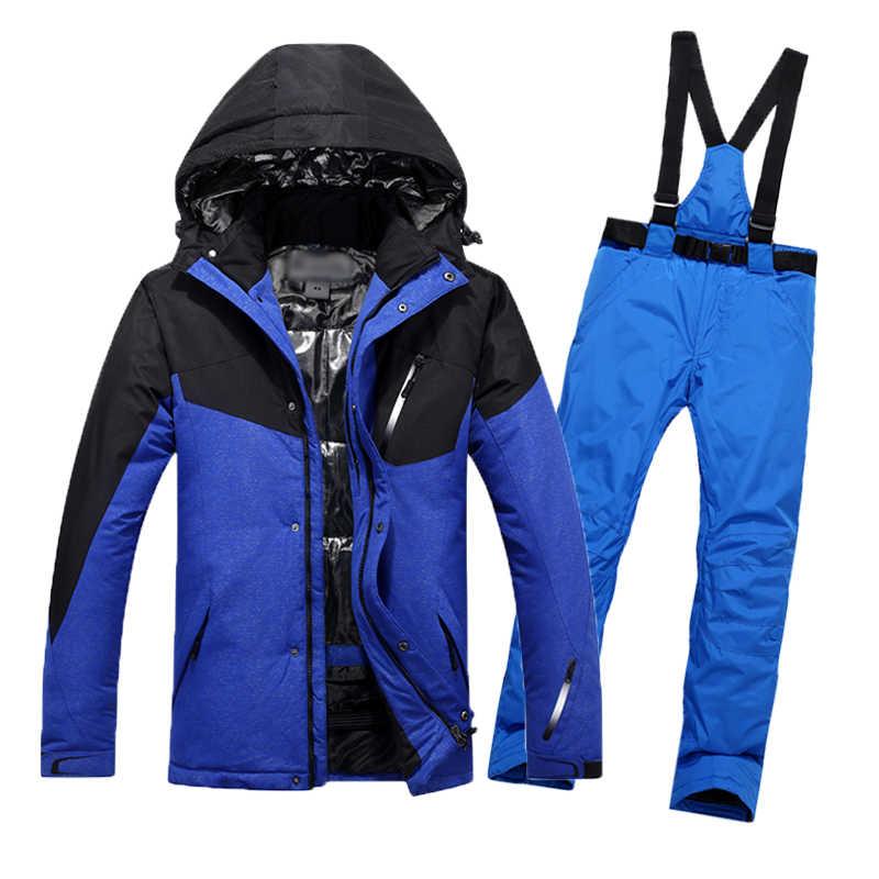 Лыжный костюм Для мужчин 2018 Новый Водонепроницаемый Термальность сноуборд  куртка + брюки Мужской Mountain катания на 41cb7021fa2