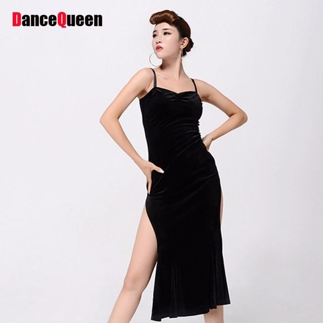 a12791fee9 Hermoso vestido de baile latino para las señoras sin mangas negro grado  Sexy falda mujeres moda