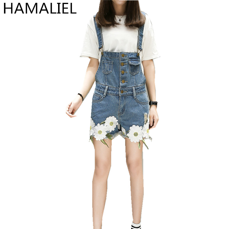 HAMALIEL Official Store Womens Jumpsuit Denim Overalls 2017 Summer Jumpsuits Rompers Casual Strap Daisy Embroidery Pockets Shorts Jeans Plus Size 5XL
